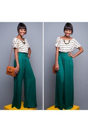 casual Palazzo pants - fashion STRIPED T-SHIRT shirt - retro bag