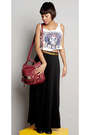 Ruby-red-vintage-bag-bag-black-long-skirt-skirt-ivory-cropped-top