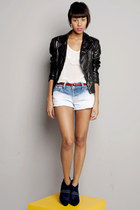 black leather jacket jacket - blue tie dye shorts - off white blouse