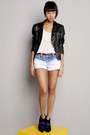 Black-leather-jacket-jacket-blue-tie-dye-shorts-off-white-blouse