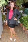 White-shoes-black-blazer-matelasse-black-bag-black-skirt-silk-pink-top