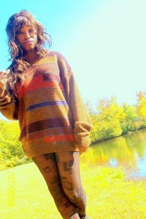 brown sweater - carrot orange sweater - blue sweater - black geometric stockings