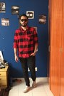 Black-pull-bear-jeans-red-h-m-shirt-white-vans-sneakers