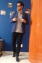 blue H&M jacket - black arena shoes - silver Zara shirt