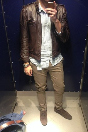dark brown Gino shoes - dark brown OUI jacket - light brown pull&bear pants