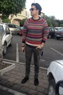 Gray-pull-bear-jeans-ruby-red-h-m-sweater-black-vans-sunglasses