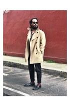 Goodbye Folk shoes - trench coat H&M coat - black and white pull&bear shirt