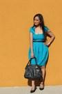 Asos-dress-satchel-michael-kors-bag-forever-21-belt-payless-pumps