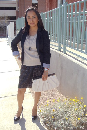 black sequin vintage skirt - beige H&M sweater - black H&M blazer