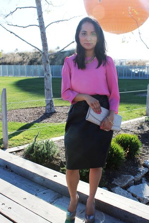 off white clutch H&M bag - pink pink H&M blouse