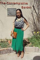teal chiffon maxi Forever 21 skirt - bronze faux leather Zara bag