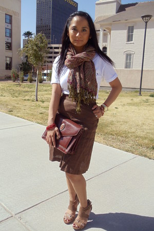 brown H&M skirt - crimson brown  red vintage scarf