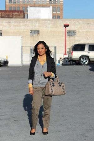 silver grey H&M sweater - black black H&M blazer - beige beige Aldo bag