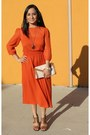 Carrot-orange-midi-chiffon-asos-dress-tan-clutch-aldo-bag