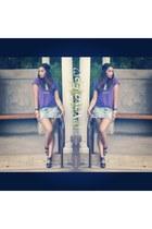 purple thrifted shirt - light blue hollister skirt - brown Forever 21 heels