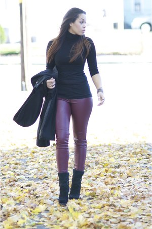 black vintage coat - crimson H&M pants - black Forever 21 top