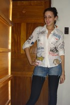 blue diy shorts shorts - white print desigual blouse