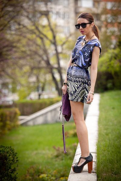 black New Yorker sunglasses - blue designed by me dress - purple Zara bag