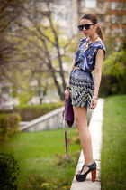 black New Yorker sunglasses - blue designed by me dress - purple Zara bag