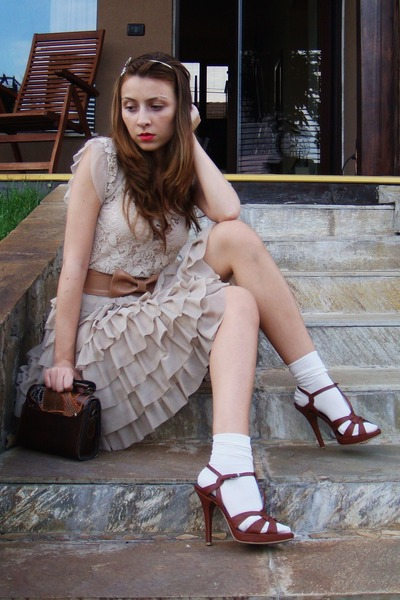 beige Mango top - beige custom made skirt - beige custom made belt - brown vinta