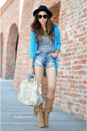 black H&amp;M hat - beige Pusa Ciucle boots - blue H&amp;M shorts - blue random cardigan