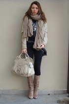nude thrifted boots - periwinkle Stradivarius jacket - periwinkle thrifted scarf