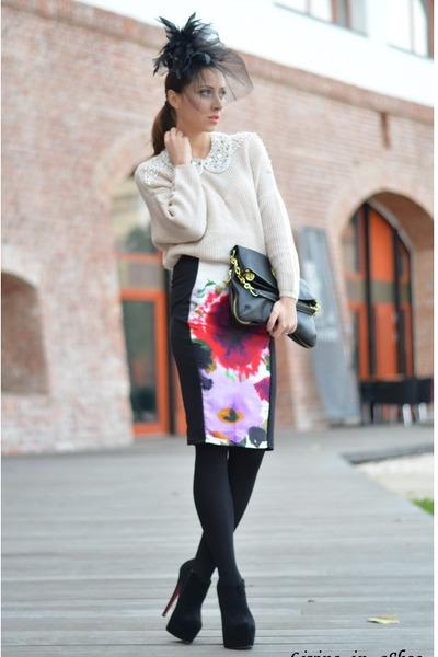 black random brand boots - beige Sheinside sweater