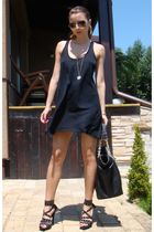 black NewYorker dress - black Random Bag accessories - black random brand shoes