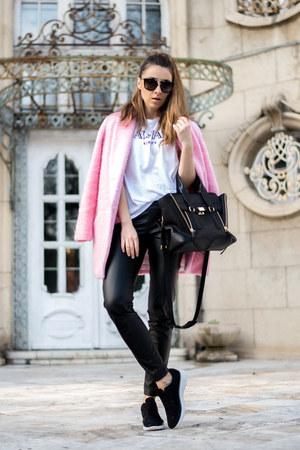 light pink coat - black faux leather pants