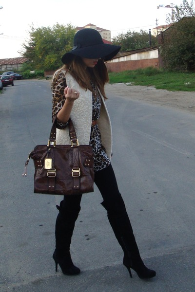 beige custom made vest - brown Zara shirt - brown Mango - black BBup boots - bla