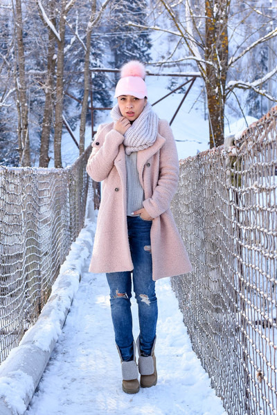 light pink Choies hat - light pink Zara coat - blue H&M jeans