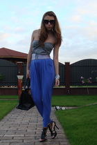 blue Calliope pants - gray custom made top - black MeliMelo belt - black Zara sh