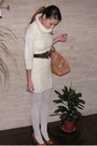 White-mango-dress-white-takko-stockings-brown-self-made-belt-beige-random-