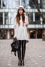 Black-jessica-buurman-boots-periwinkle-zara-dress