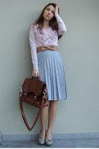 light pink Mango cardigan - heather gray vintage skirt - beige custom made belt