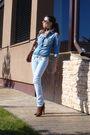 Blue-zara-shirt-blue-bershka-jeans-beige-self-madelf-scarf-brown-mango-acc