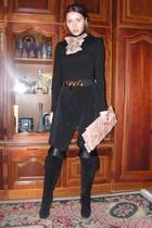black custom made pants - black pull&bear top - beige custom made scarf - beige