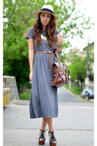 gold Haute1 necklace - gray nowIStyle dress - beige H&M hat - brown Mango bag