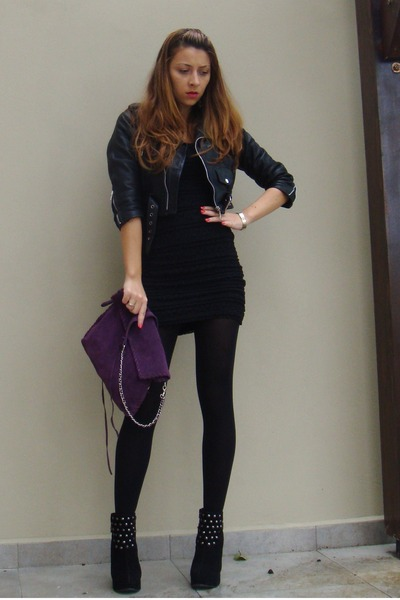 Purple Zara Purses, Random Brand Boots, Black H&M Dresses, Black ...