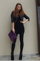 purple Zara purse - random brand boots - black H&M dress - black thrifted jacket
