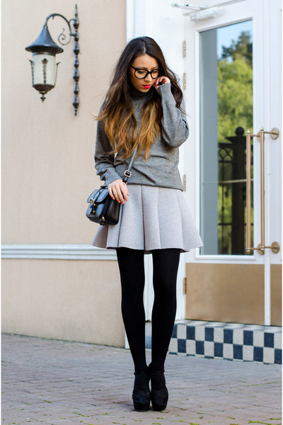 periwinkle blackfive skirt - heather gray c&a sweater - black vintage bag