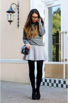 periwinkle blackfive skirt - heather gray c&a sweater - black vintage bag