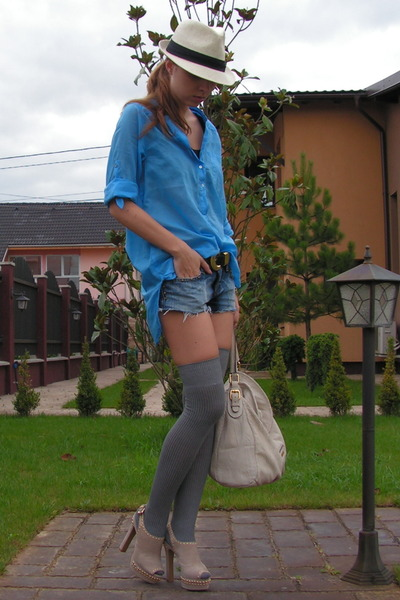 blue Zara shirt - blue DIY shorts - gray random otk socks - beige NewYorker hat