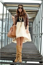 brown Bershka jacket - beige custom made boots - beige nowIStyle dress