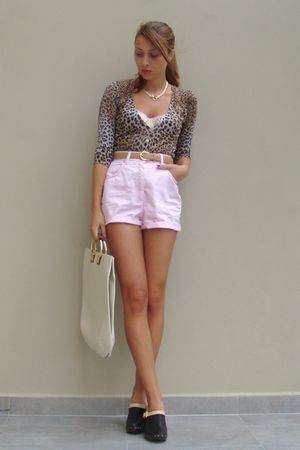 pink DIY shorts - beige custom made belt - pink Topshop top