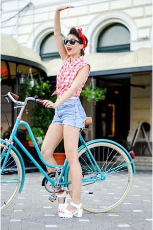 red OASAP shirt - sky blue Levis shorts - white blackfive sandals