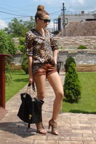 brown Zara shirt - brown custom made shoes - brown custom made leather shorts