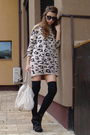 Beige-bershka-dress-beige-musette-accessories-black-random-brand-shoes-bla