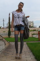 white Zara t-shirt - blue cut by me shorts - gray zara bag accessories - gray ra