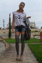 white Zara t-shirt - blue cut by me shorts - gray zara bag accessories - gray ra